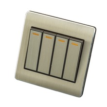 Home Wall Switch Socket, 86-Type Concealed Gold, Four Single-Control Panel, 10A PC110-250V