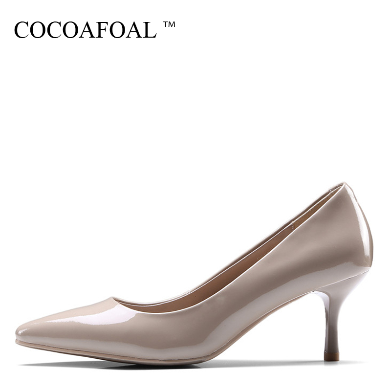 fashion ladies wedding shoes women sexy stiletto pointed toe high heels pumps shoes red black white apricot wine color us8 5 40 COCOAFOAL Woman Wine Red Pumps Fashion Apricot Pointed Toe Sexy High Heels Shoes Party Shallow Genuine Leather Wedding Pump 2018