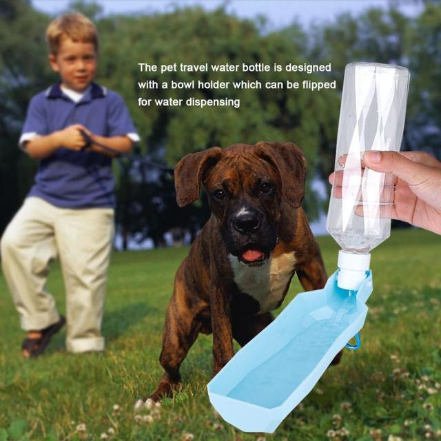 500ML Portable Water Bottle Feeder Pet Dog Doggy Outdoor Travel Water Bottle with Bowl Holder Drinking Feeding Tools 3