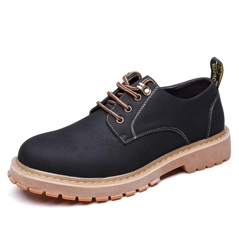 Зимние Мужские кожаные туфли большой Размеры Мужские ботинки Новинка 2017 года Модные ботильоны для мужчин Кружева Up Марка Для мужчин S Резин…