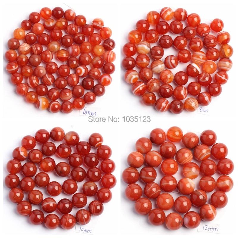 Free Shipping 6,8,10,12mm Natural Orange Banded Agates Onyx Round Shape DIY Gems Loose Beads Strand 15 Jewellery Making wj36
