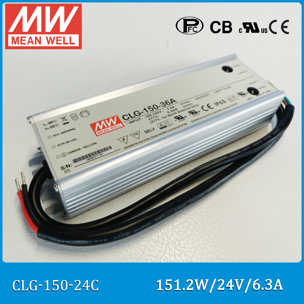 Original Meanwell LED power supply CLG-150-24C 6.3A 12V 151.2W led driver adjustable CLG-150 C type meanwell 12v 100w ul certificated clg series ip67 waterproof power supply 90 295vac to 12v dc