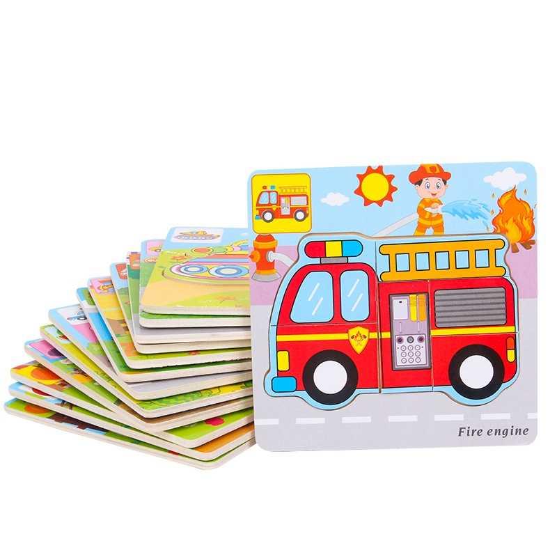 Красочные деревянные головоломки Монтессори автомобиль животных фрукты овощи обучающий пазл детские развивающие игрушки для детей Мультяшные головоломки подарок