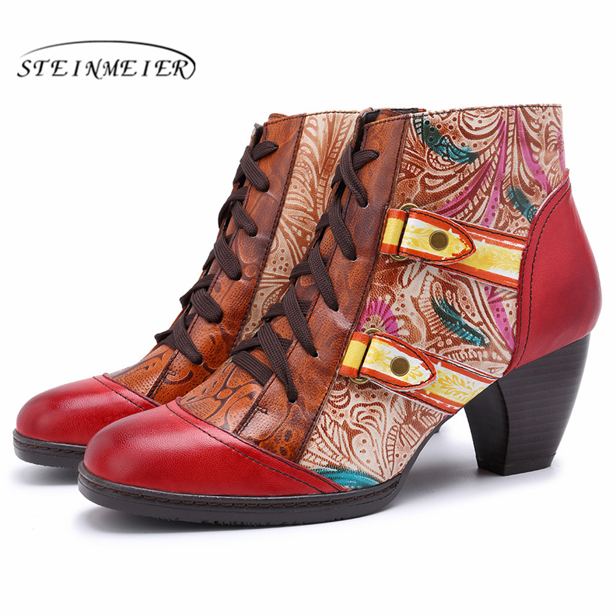 Women winter Boots Spain Retro Genuine cow Leather Ankle Comfortable quality soft Shoes Brand Designer Handmade red 2019 springWomen winter Boots Spain Retro Genuine cow Leather Ankle Comfortable quality soft Shoes Brand Designer Handmade red 2019 spring