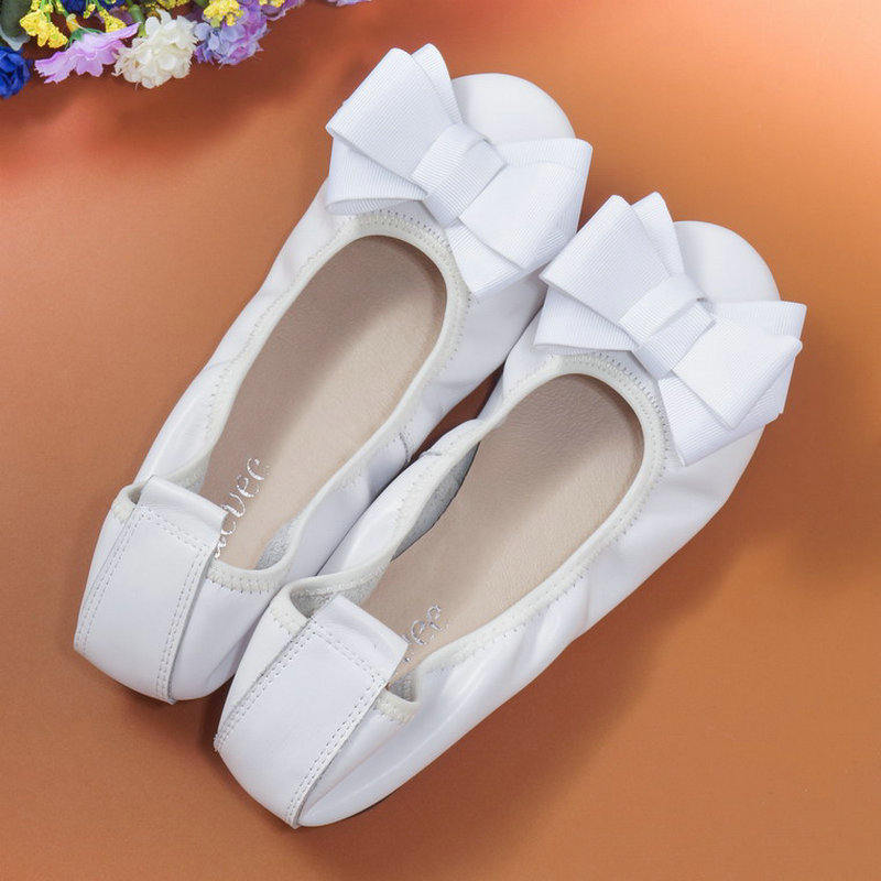 2018 Spring Genuine Leather Butterfly Knot Female Shoes Shallow Mouth Big Yards Pregnant Women Work Female