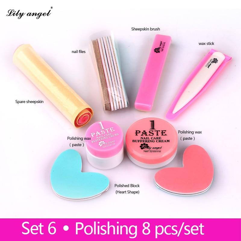 Nail Conditioner care 8Pcs Nail Polishing Wax Nail Manicure Luster Buffing Paste nail Buffer Full Sets