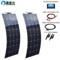 200 watt 12Volt or 24 volt photovoltaic Monocrystalline cells flexible Solar Panel Water Resistant Solar Module Battery Charger