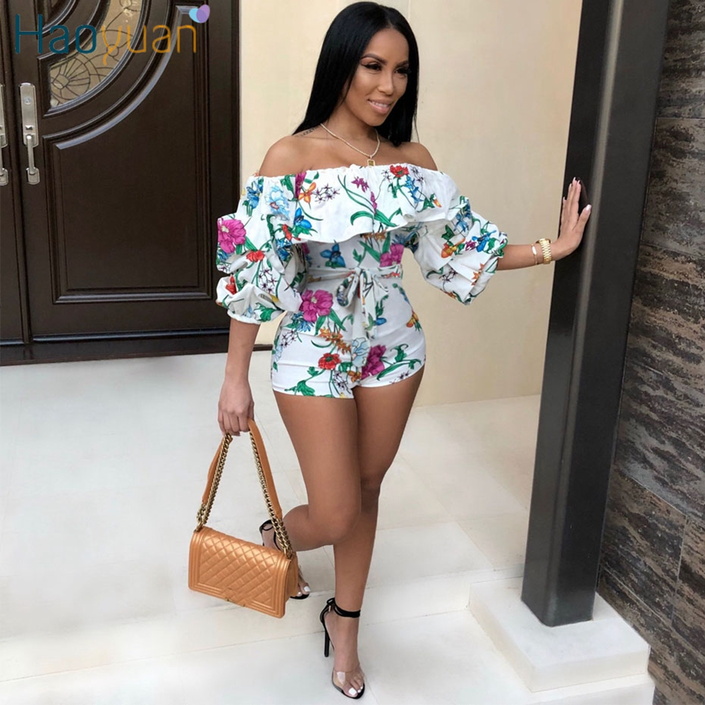 HAOYUAN Ruffle Off Shoulder Sexy Playsuit Backless Summer Body Femme Boho Beach Overalls Bodycon Shorts Rompers Women   Jumpsuit