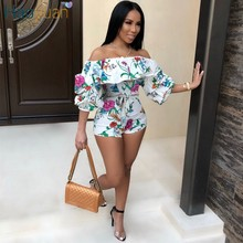 5e3801a2450 HAOYUAN Ruffle Off Shoulder Sexy Playsuit Backless Summer Body Femme Boho  Beach Overalls Bodycon Shorts Rompers Women Jumpsuit