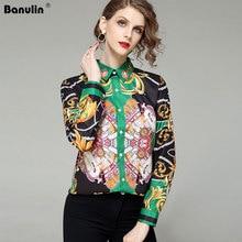 Banulin Runway Floral Vintage Blouses Ropa Mujer 2019 Designer Tops Shirt Women Long Sleeve Shirts Plus Size Blusas Feminina