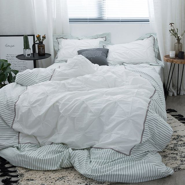 Washed Cotton Bed Linen High Thread Count Satin Bedding Sets White Bedspreads Embroidery Duvet Cover Set Bedclothes