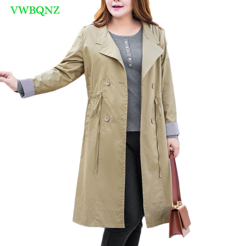 New Women Drawstring Windbreaker Coat Spring Slim Long   Trench   Coats Women's Fashion Standing collar Plus size Overcoats 6XL A365