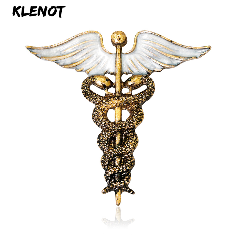Brooch Symbol Angel-Wing Doctor Animal Snake Medical Nurse Jewelry Women Vintage Pins