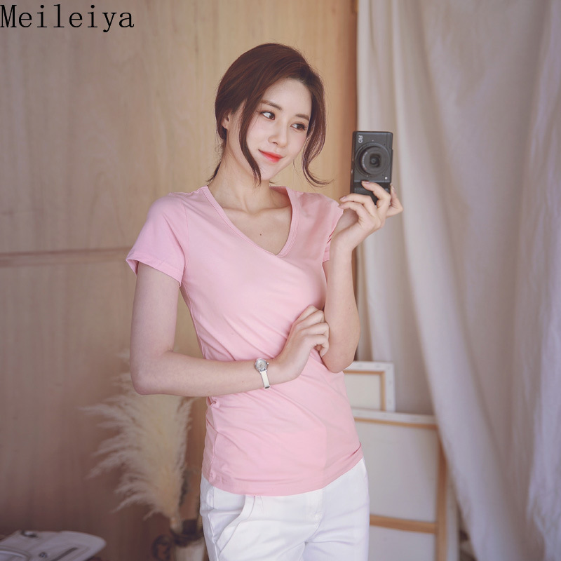 T Shirt 2019 Spring and Summer Solid Color V neck Short sleeved Women 39 s T shirt in T Shirts from Women 39 s Clothing