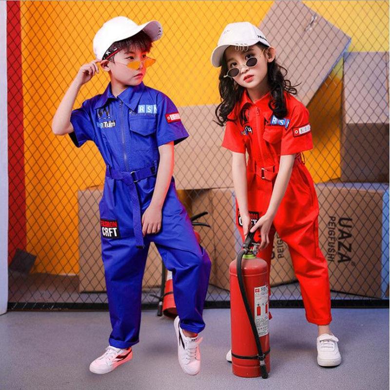 Kids Adult Hip Hop Dance Performance Jazz Play Suits Boys Girls Loose Overalls Pants Harem Short Sleeve Jumpsuit Dance Costumes
