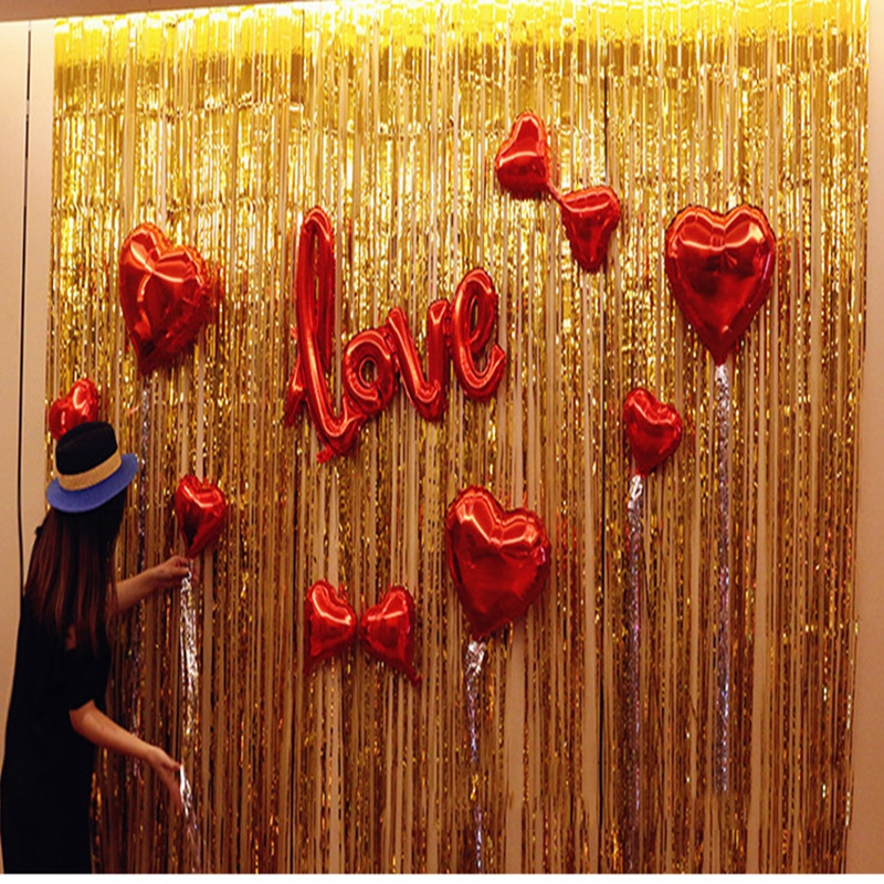 Gold Foil Fringe Curtain 1*2M Door Curtains Tinsel Shining Garlands Party  Wedding Birthday Marriage
