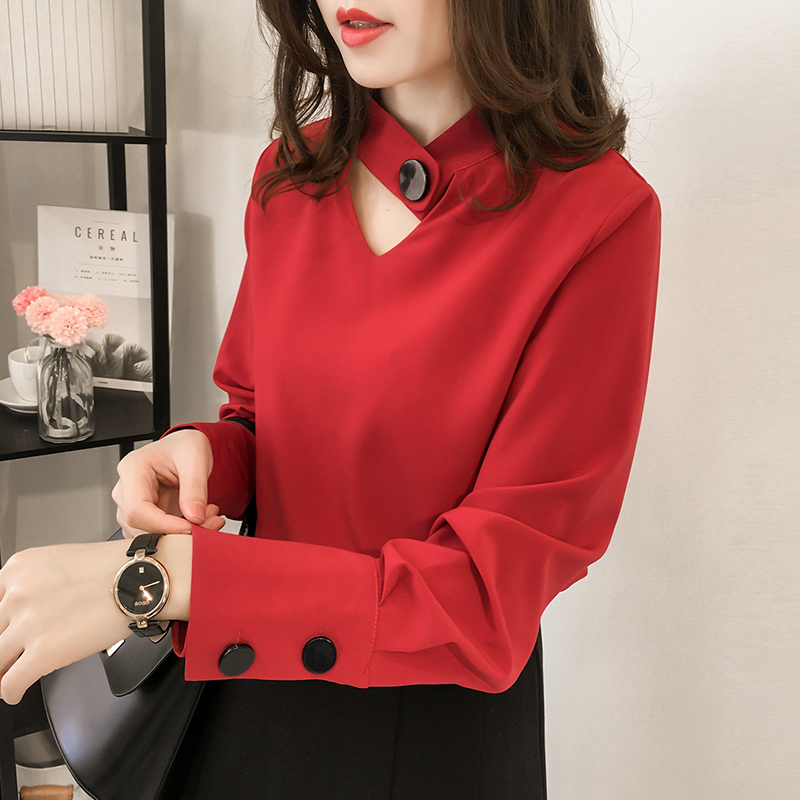 New Spring Autumn Fashion Women   Shirts   Solid Full Sleeve Chiffon Hollow Out Slim Hang A Neck   Blouse     Shirt   Pink Red Black 8107
