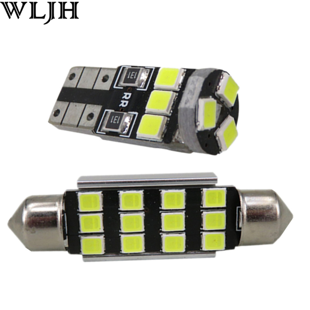 WLJH 19x Pure White Canbus Dome Footwell Trunk LED Bulb LED Car Interior Light Kit for BMW F10 5 Series 550i 535i 528i M5 2010+ wljh 2x canbus 20w 1156 ba15s p21w led bulb 4014smd car backup reverse light lamp for bmw 228i 320i 328d 328i 335i m3 x1 x4 2015