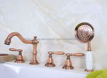 Bathtub Faucet Red Copper Widespread Roamn Tub Faucet 5 Hole Bath Faucet with Handshower Btf228