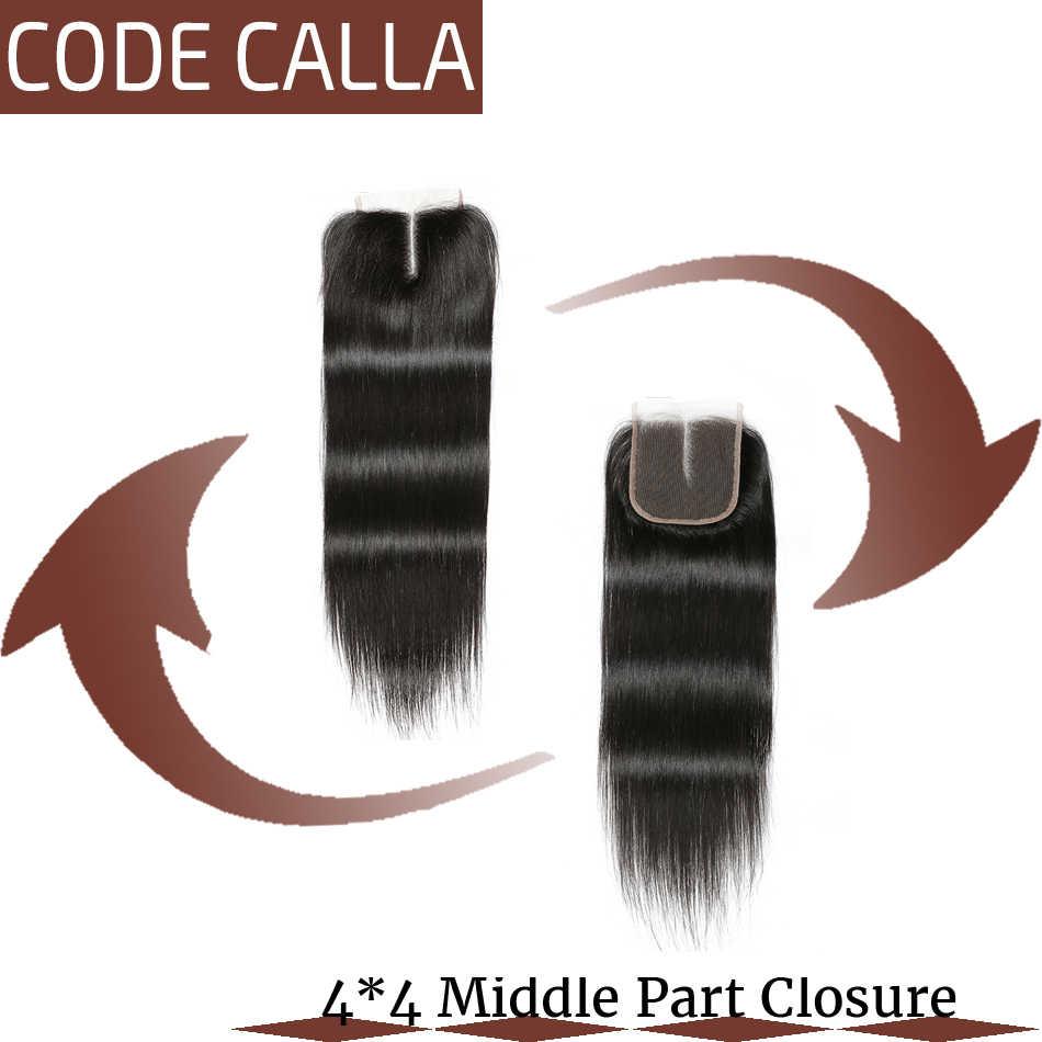 Код Calla бразильские необработанные девственные прямые волосы пучки с 4X4 кружева закрытие салон 100% человеческих волос для наращивания натуральный черный цвет