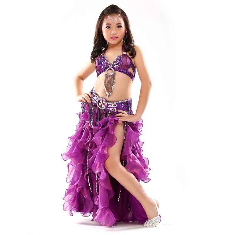 <font><b>Indian</b></font> <font><b>Sari</b></font> Girls Dress Orientale Bellydance Costumes For <font><b>Kids</b></font> Oriental Belly Dance Costumes Belly Dancing Clothes 3PCS/SET image