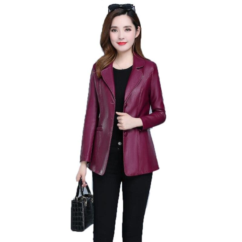 Faux Leather Coat Autumn Women Black Wine Red XL-6XL Plus Size Korean Temperament Jacket Long Sleeve Short Fashion Jacket JD307