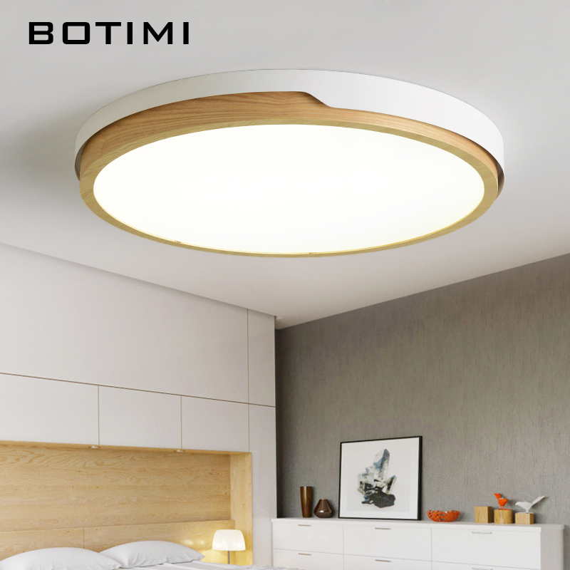 BOTIMI LED Round Ceiling Lights Nordic Style Ceiling Mounted Lamp For Bedroom Dining Living Room Wooden Kitchen Lighting Fixture