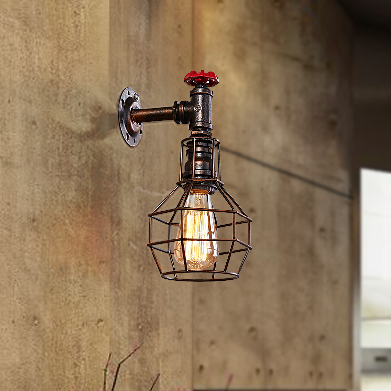 Loft Style Iron Cage Water Pipe Lamp Edison Wall Sconce Industrial Vintage Wall Light Fixtures For Home Indoor Lighting loft style iron edison wall sconce creative water pipe lamp industrial vintage wall light fixtures indoor lighting lampara