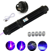 High Power USB Lengthen Blue Laser Pointers Rechargeable Laser sight Torch 450nm 10000m Focusable Flashlight burn match