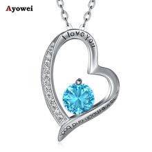 Ayowei голубое колье в форме сердца женское ожерелье подарок