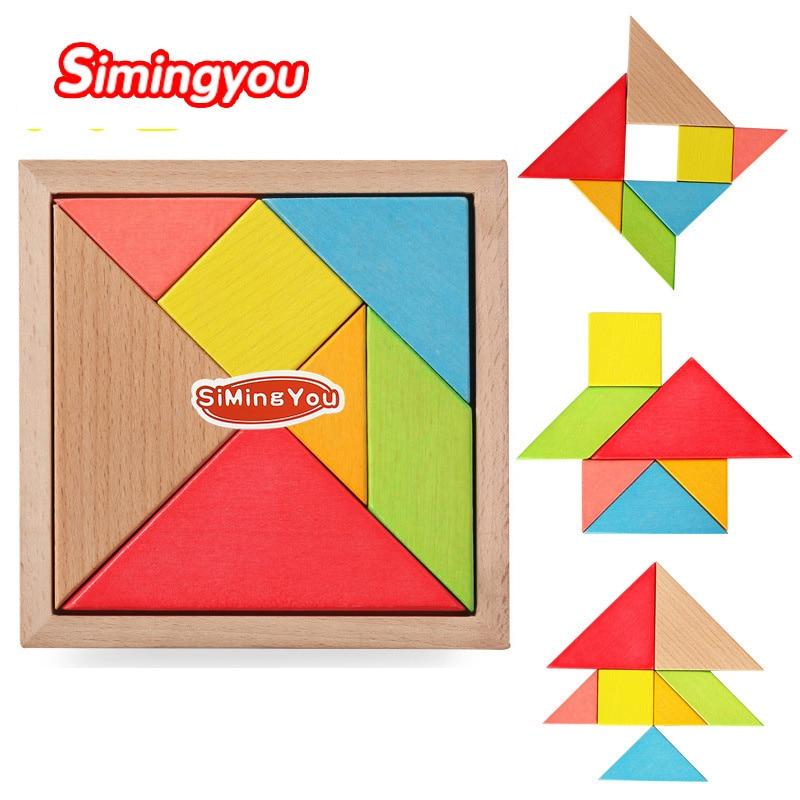 Simingyou Puzzle Výukové dřevěné hračky Vývojové hračky Velké dřevěné Tangram Brain Teaser Puzzle pro děti WMG04