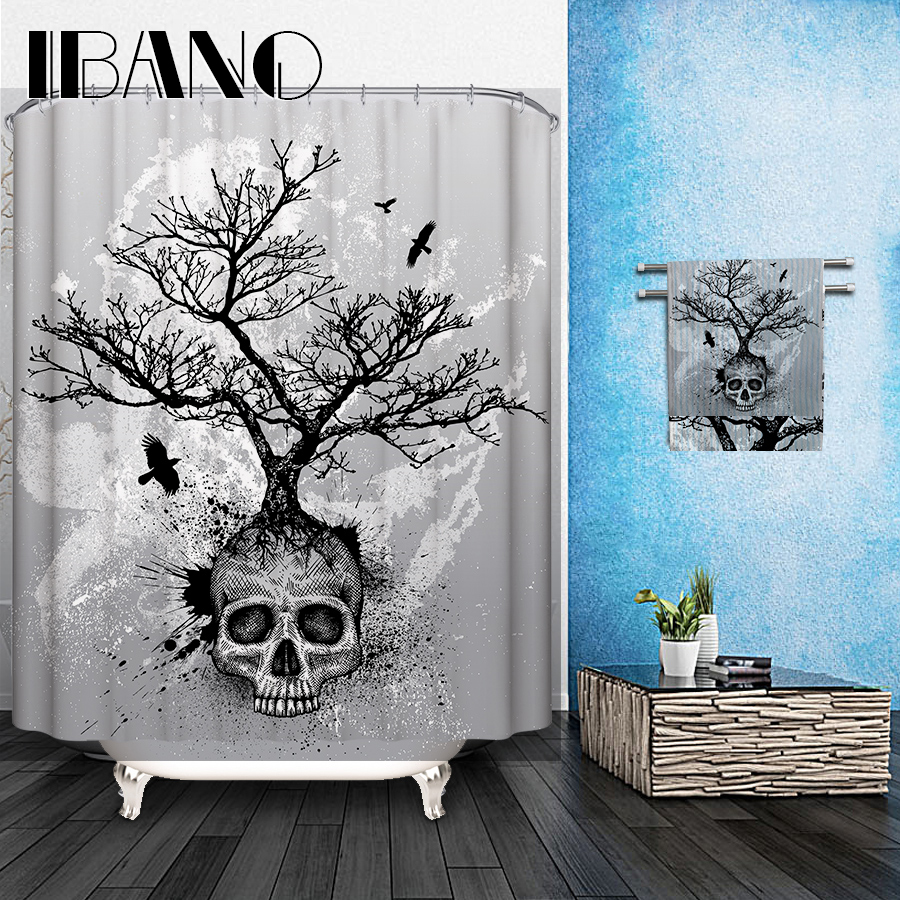 Skulls Shower Curtain Pattern Customized Shower Curtain Waterproof Bathroom Fabric 150x180cm Shower Curtain For Bathroom