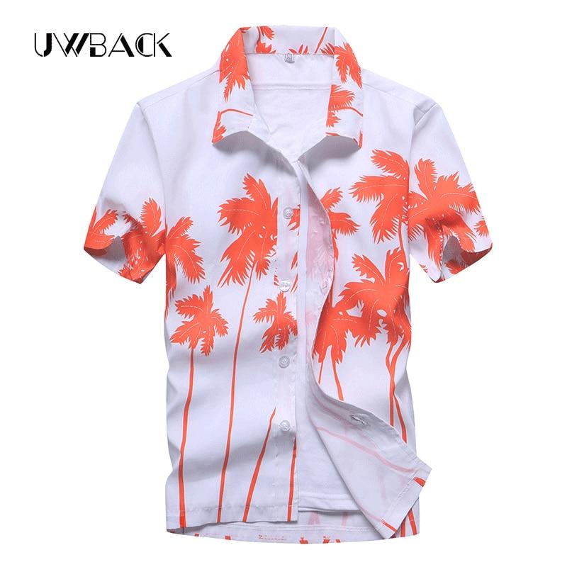 Uwback Men's Summer Hawaiian Shirts Single Breasted Light Beach Shirts Short Sleeve Breathable Plus Size 5XL Hawaii Shirts XA068