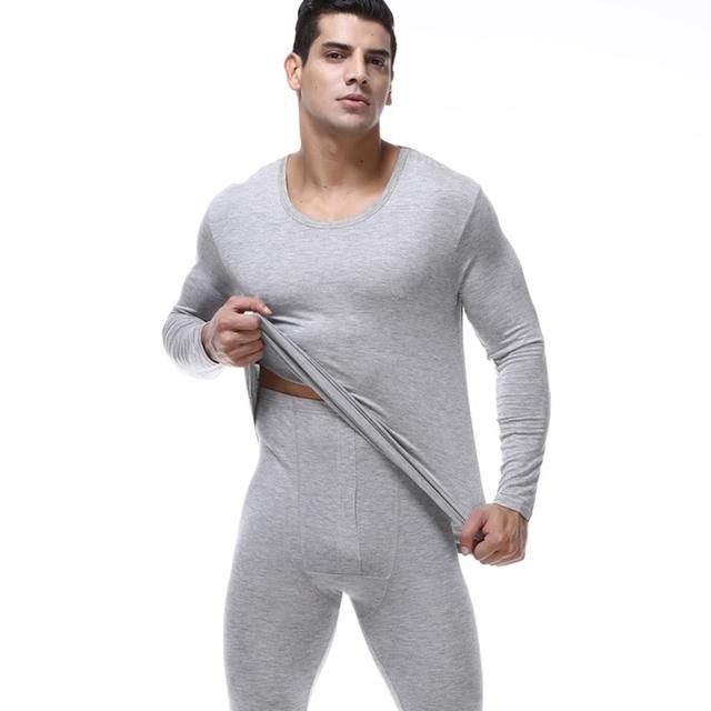 Los hombres de alta Calidad trajes de la ropa interior más tamaño 7XL modal Suave o-cuello Long Johns establece Tops y Pantalones Modales de Los Hombres pijamas trajes