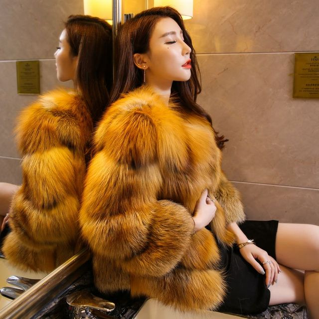 7a6ae90f2e Customized new design women fur coat luxury genuine red fox fur jacket,  Milan show ladies real fur short overcoat