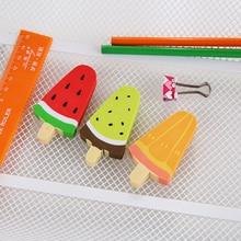 1pc/lot Cute Watermelon Kiwi Popsicle Rubber Eraser Random Kawaii Stationery School Office Supplies Student Gift