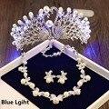 Meninas da Festa de Aniversário Luz Coroa Tiara Colar Brincos Jóias Conjuntos de Jóias Mulheres Casamento Nupcial Tiaras Cabelo Acessórios HG158