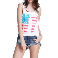 100% Cotton Stripes Stars Womens USA Flag American Patriotic Fitted Vest Summer Tank Top Sleeveless Camisole