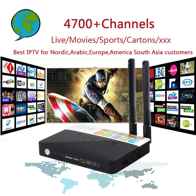 CSA93 Android 7.0 4K TV Box With 4700+ World PRO Arabic Israel Nordic USA Brazil India Europe IPTV Smart Set top Box 3G 32G