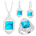 Jewelry set for women fashion square turquoise jewelry silver plated necklaces rings stud earrings Jewelry Sets