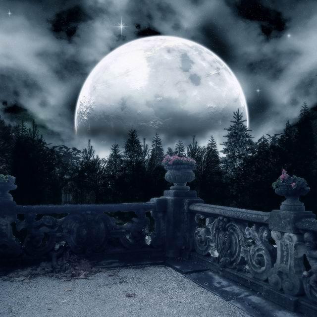 Custom Halloween Vinyl Cloth Castle Balcony Moon Night