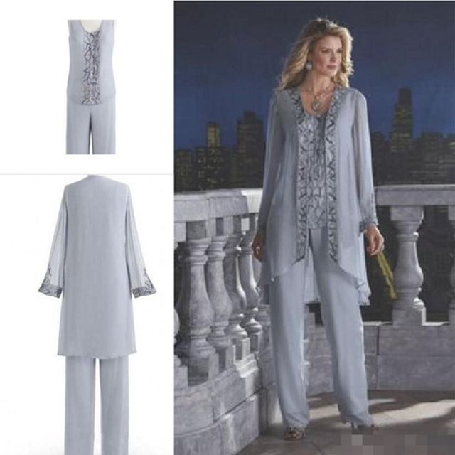 Hot Sale Silver Chiffon Mother Of The Bride Or Groom Dresses Pants