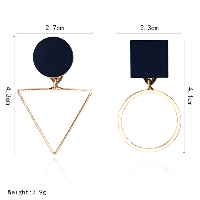 New Fashion Geometric Stud Earrings For Women Round Triangle Design Elegant Earrings For Birthday Wedding Gift Brincos 2