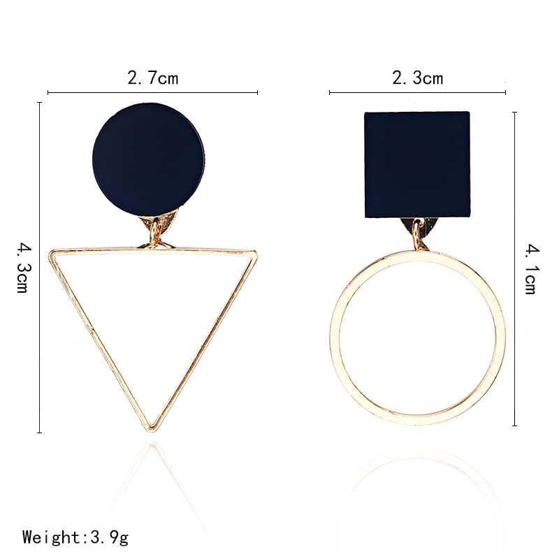 ใหม่แฟชั่นเรขาคณิตสตั๊ดต่างหูผู้หญิงรอบสามเหลี่ยมออกแบบ Elegant ต่างหูสำหรับงานแต่งงานวันเกิดของขวัญ Brincos