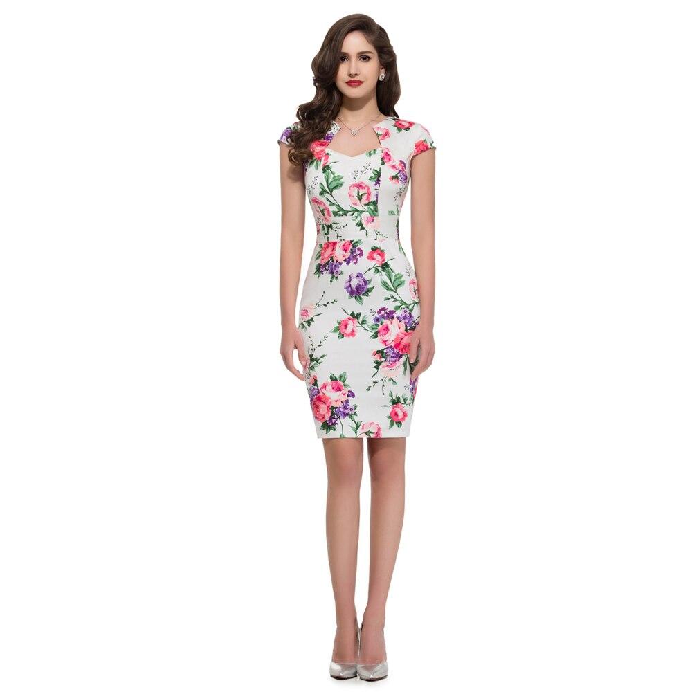 Women Dress Summer Floral Polka Dot Vintage 50s Rockabilly Dress ...