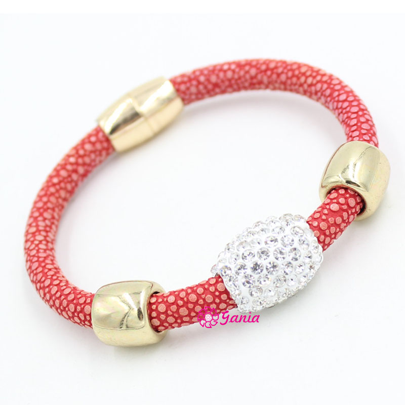1 Pc Neue Ankunft Magnectic Armband Stingray Leder Armband Kristall Perle Magnetische Näher Handgelenk Armband Für Männer Bijoux Pulsera