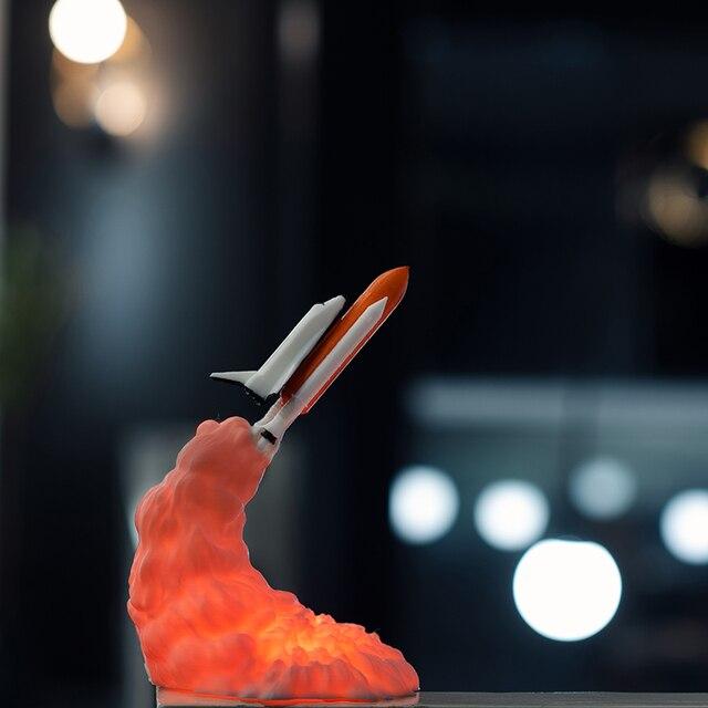 2019 חדש Dropship 3D הדפסת מעבורת חלל מנורת לילה אור עבור שטח אוהדי ירח מנורת רוקט מנורת כמו חדר קישוט