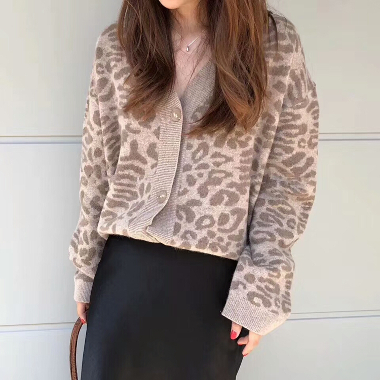 Women Autumn Winter Leopard Cardigan Sweater coat Female Long Sleeve plus size Outer Knitted tops pull Femme jersey sueter 9