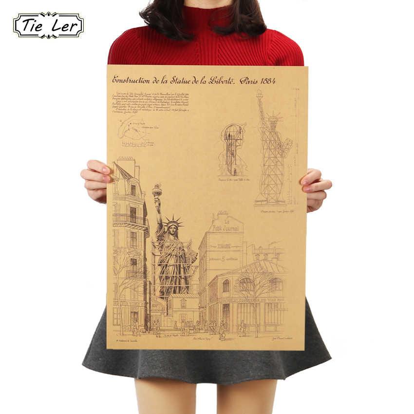 KRAVAT LER En özgürlük heykeli New York Retro Poster Süsleme Bina Kraft Kağıt Duvar Sticker 51X36cm