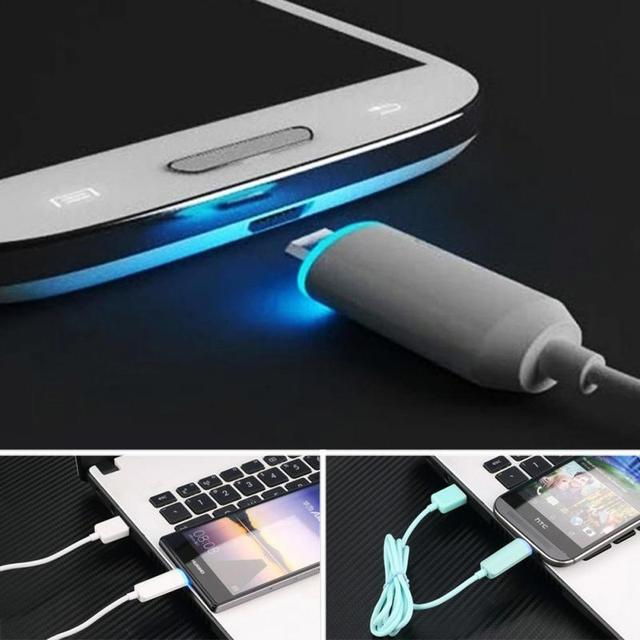 Intelligent LED Indicator Light Type MicroUSB Charging Cable For Android Phones LED Luminous 2.1A Quick Charging USB Cable